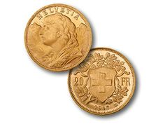 This Swiss Vreneli 1 oz gold coin takes its name from the 'Swiss Miss' and the town of Verena. The Swiss mint in Berne made the first coins in 1897 in 20 Franc denominations Bullion Coins, Gold Bullion, Gold And Silver Coins, Silver Bars, 1 Oz Gold Coin, Sell Gold, World Coins, Gold Price, Coin Collecting