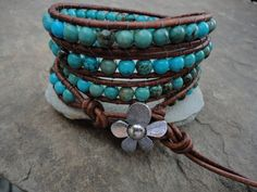 Artessa Turquoise Beaded Leather Wrap Bracelet by justhipstuff, $59.99
