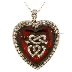 Heart - Georgian Diamond and Scarlet Glass Locket, England, Early 1800's