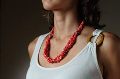 Salmon Peach Beaded Necklace Summer Necklace Summer Jewelry Beach Necklace. $39.00, via Etsy.