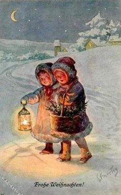 Card illustration by Karl Feiertag Was a history and genre painter best known for his postcard illustrations - especially of children. Old Time Christmas, Christmas Scenes, Christmas Past, Christmas Greetings, Winter Christmas, Christmas Mantles, German Christmas, Christmas Villages, Christmas Christmas