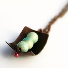 Mint chocolate copper and ceramic necklace by BlueberryCream