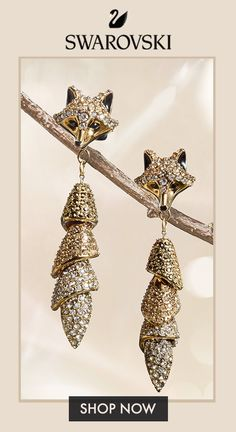 A brilliantly foxy pair for your feminine and edgy style. Shop the new Swarovski Winter Collection today! Body Jewelry Shop, Ear Jewelry, Animal Jewelry, Unique Jewelry, Fine Jewelry, Jewelry Box, Jewelery, Handmade Jewelry, Edgy Style
