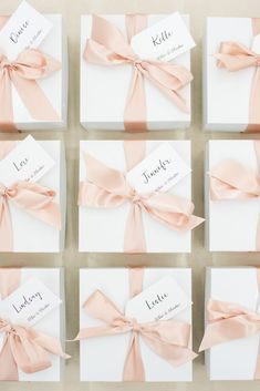 CORPORATE EVENT GIFTS// Pink and white thank you gift boxes custom designed for photographer retreat, curated by Marigold & Grey,  Image: Lissa Ryan  #artisangiftbox #curatedgiftbox #corporategifts