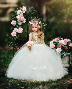 Giselle Ivory Flower Girl Dress Ivory Gold Sequin Flower Girl