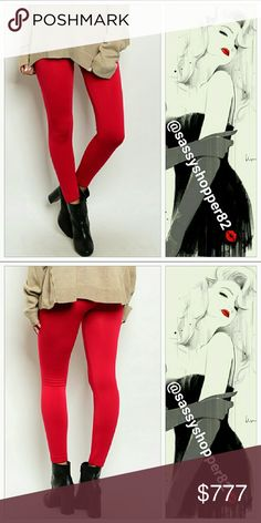 Winter warm lipstick red leggings Brand new Boutique   Stay warm & cozy in these fabulous fleece lined scarlet red thick winter leggings!! These leggings feature a stretch comfortable fit and elasticized high-waist. This color is a season must have!  Pair with a sweater, faux fur and boots for a great look!! 85%polyester 15%spandex  💖Shop with confidence💖💖 🎉🎊Suggested User🎊🎉 📮💌Same day shipping📮💌 5🌟🌟🌟🌟🌟 star rated closet 👍👍Top seller👍👍 Pants Leggings