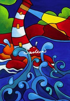 Ocean Commotion lighthouse by Saileen Drumm Marker Kunst, Marker Art, Dot Painting, Stone Painting, Peter Max Art, Abstract Face Art, Colorful Quilts, Modern Art Paintings, Naive Art