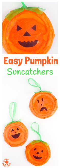 EASY PUMPKIN SUNCATCHERS - This Pumpkin Craft is perfect for toddlers and preschoolers. Kids will love decorating their homemade pumpkins with fun cheeky faces. This characterful pumpkin craft makes great Halloween craft and looks fabulous in the window a