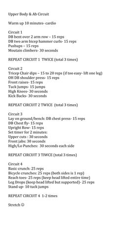 upper body & abs circuit by mandy #workout