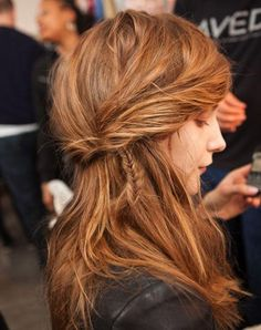 Peek-a-boo fishtail braid.