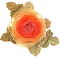 Купить Пламенная Долина. Брошь-цветок из ткани и натуральной кожи в интернет магазине на Ярмарке Мастеров
