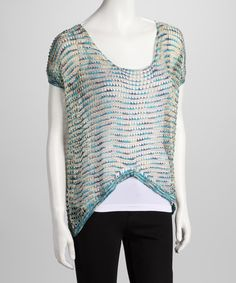 Take a look at this Blue & Gold Open-Knit Hi-Low Top by Spring Has Sprung: Women's Apparel on @zulily today!