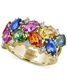 Watercolors by EFFY Multi-Gemstone (5-1/5 ct. t.w.) and Diamond (1/3 ct. t.w.) Ring in 14k Gold