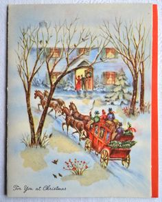 Vintage Christmas Card Stagecoach Christmas Day House
