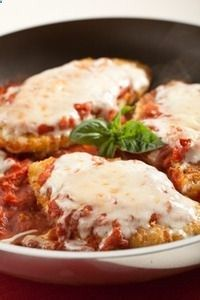 Baked chicken Parmesan at only 225 calories each! .