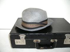 """grey straw fedora men's hat - retro mad men style - by JC Penney - 21"""" - hollywood regency hipster, $29.00. CA"""