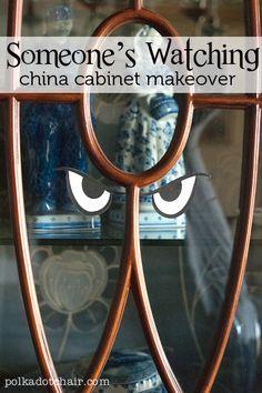 Spooky Halloween China Cabinet Idea