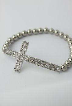 Beaded Pave Cross Bracelet <3