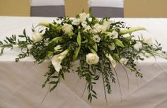 Traditional Registrar Table Flowers With Calla Lilies And Roses by Serendipity, Leeds