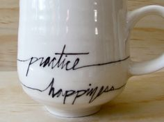 Black and White Practice Happiness Mug. Word by MelissaMayaPottery, $28.00