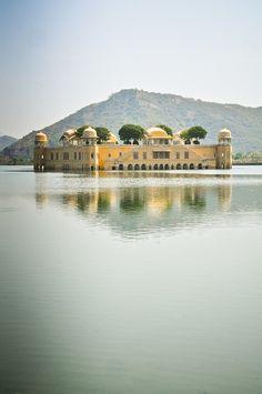 """Jal Mahal (""""Water Palace"""") on Man Sagar Lake in Jaipur, Rajasthan, India"""