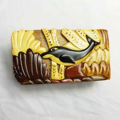 Handmade Art Intarsia Wooden Puzzle Box - Dolphin
