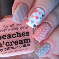 It's all about the polish: Peach Valentine's Nail Design