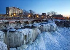 Kanada, Zima, Wodospad, Most, Zdjęcie miasta