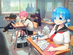 ayamy re zero kara hajimeru isekai seikatsu emilia (re zero) natsuki subaru pack (re zero) petelgeuse romanee-conti ram (re zero) rem (re zero) neko seifuku thighhighs Fan Art Anime, Anime Artwork, Anime Art Girl, Anime Girls, Anime Sensual, Anime Sexy, Totoro, Animé Fan Art, Another Anime