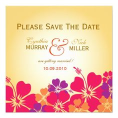 Luau save the date card personalized invitations