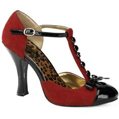 Women's Pin Up Couture Smitten 10 T-Strap Pump Red 8.