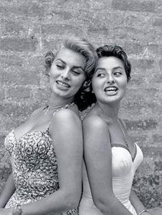 Sophia Loren with her sister Maria. 1955.