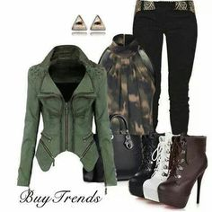 luv this outfit minus the heels which look scary to walk in *cringe* Diva Fashion, Punk Fashion, Womens Fashion, Fashion Sets, Fashion Killa, Fashion Styles, Street Fashion, Stylish Eve, Punk Mode