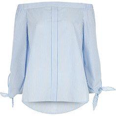 Light blue stripe tie sleeve bardot shirt £26.00