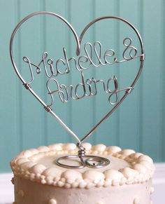 Custom Wire Heart Names Wedding Cake Topper. $45.00, via Etsy.