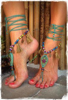Woodland FAIRY a piedi nudi sandali nappa gioielli gioielli in