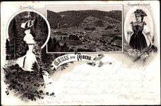 Litho Triberg, Gesamtansicht der Stadt, Wasserfall, Volkstracht von Gutach