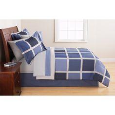 Mainstays Block Blue Bed in a Bag Bedding Set