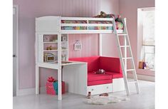 Buy Argos Home Classic White High Sleeper Bed & Fuchsia Sofa Bed White Kids Bed, White Loft Bed, Big Girl Bedrooms, Girls Bedroom, Bedroom Ideas, Bed Ideas, Pull Out Sofa Bed, Bed Sofa, High Sleeper Bed