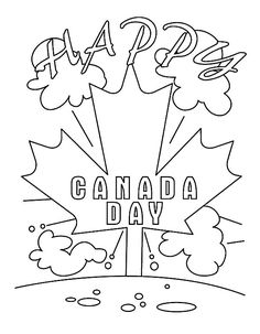 Its Happy Day On National Canada Day Coloring Pages : Kids Play Color Flag Coloring Pages, Online Coloring Pages, Free Coloring, Coloring Pages For Kids, Coloring Books, Happy Canada Day, Happy Day, Canada Day Pictures, Canada Day Crafts