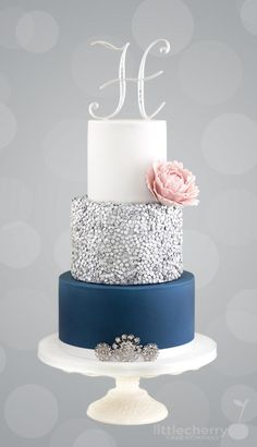 Silver Sequin Cake - Cake by Little Cherry