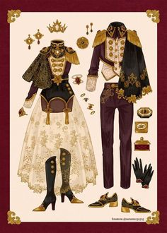 fouatons(ふわっとん) on in 2020 Vintage Fashion Sketches, Fashion Design Drawings, Kleidung Design, Clothing Sketches, Anime Dress, Fantasy Dress, Drawing Clothes, Mode Vintage, Anime Outfits