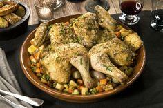 Pollo (kylling) al mattone med rotgrønnsaker