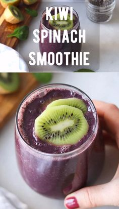 Blueberry Spinach Smoothie, Spinach Smoothie Recipes, Kiwi Smoothie, Vegetable Smoothies, Easy Smoothie Recipes, Smoothies With Vegetables, Smoothies With Spinach, Smoothie Drinks, Nutritious Smoothies