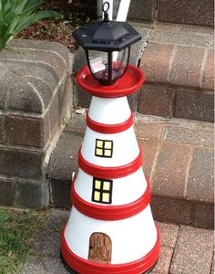 DIY: Cute Clay Pot Lighthouses U2022 Garden Decor | Flower U0026 Garden Fun! |  Pinterest | Clay Pot Lighthouse, Yard Decorations And Seaside Holidays