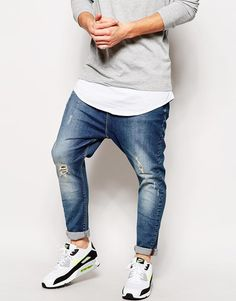 ASOS BRAND ASOS Drop Crotch Jeans With Rip And Repair Detail - Click link for product details :)