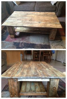 #PalletFurniture, #PalletTable, #RepurposedPallet This is a coffee table that I made using pallet slats and some scrap lumber I had laying around. The legs are made from pieces of 6x6 posts, with cherry inlaid around them to form the supports for the lower shelf. I added to the aged look by dry