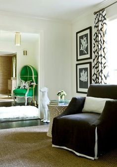 Relaxed glamour and pops of kelly green. Designed by Melanie Turner