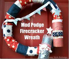 mod podge firecracker wreath