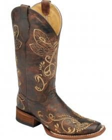 Circle G Dragonfly Embroidered Cowgirl Boots - Square Toe